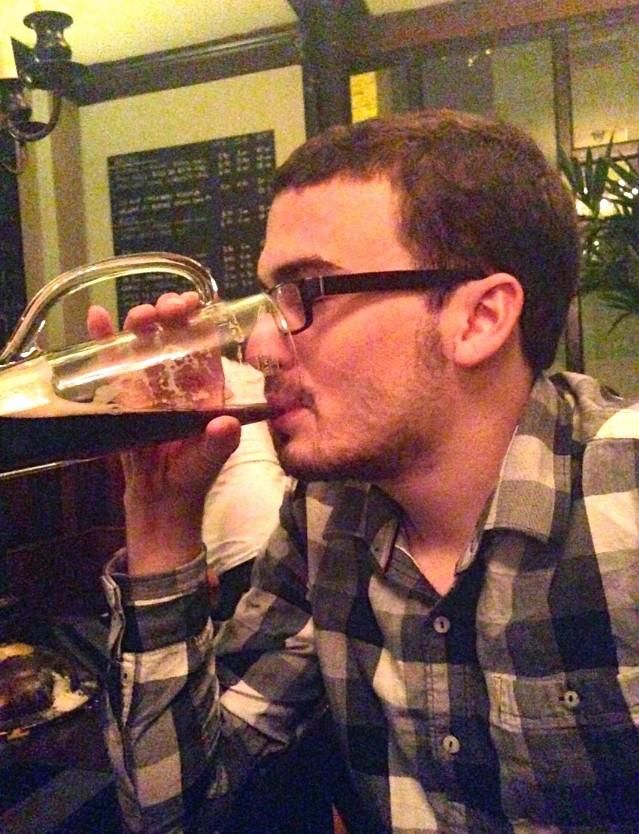 Joe drinking in London