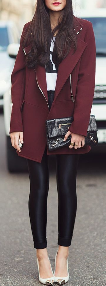 January Inspiration - Leather pants and oxblood