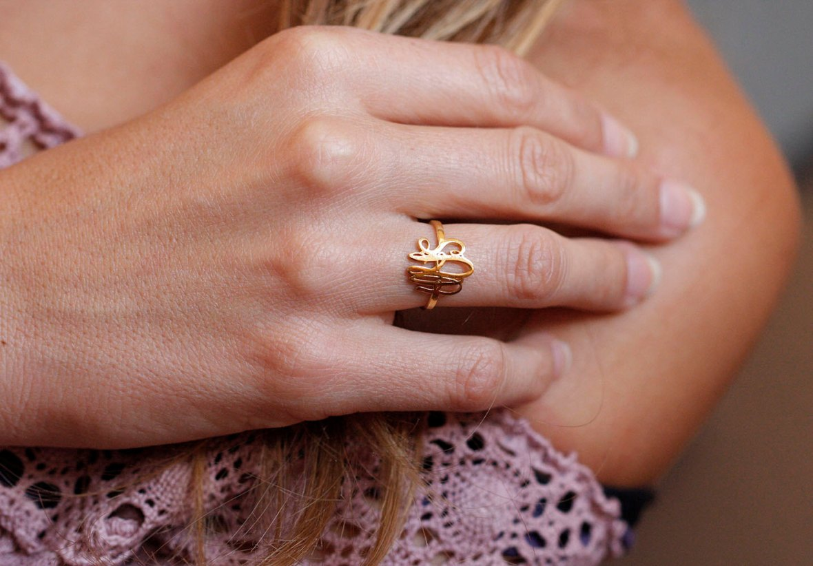 monogram ring on etsy