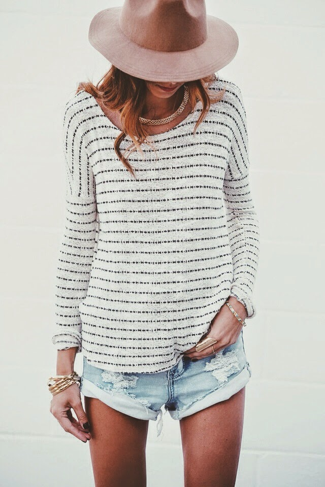 stripped shirt and a floppy hat - Spring Style