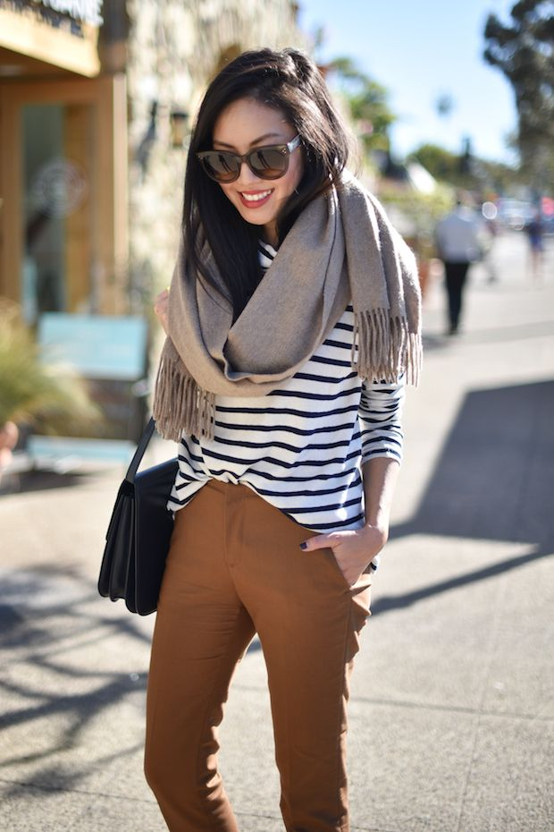 Caramel pants and stripes
