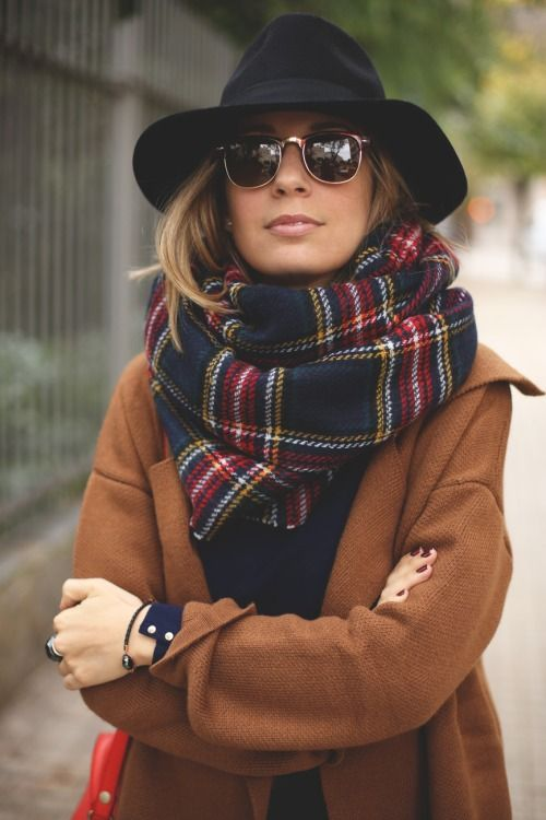 Caramel Coat and Big Scarf